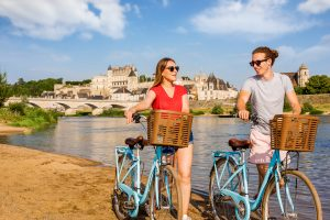 Cycling on the banks of river Loire in Amboise Loire Valley